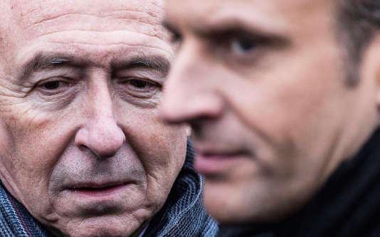 Paris, le 7 janvier 2018. Hommage aux victimes des attentats de janvier 2015 dans un Hypercacher parisien. Gérard Collomb, ministre de l'interieur, Emmanuel Macron, président de la République.
