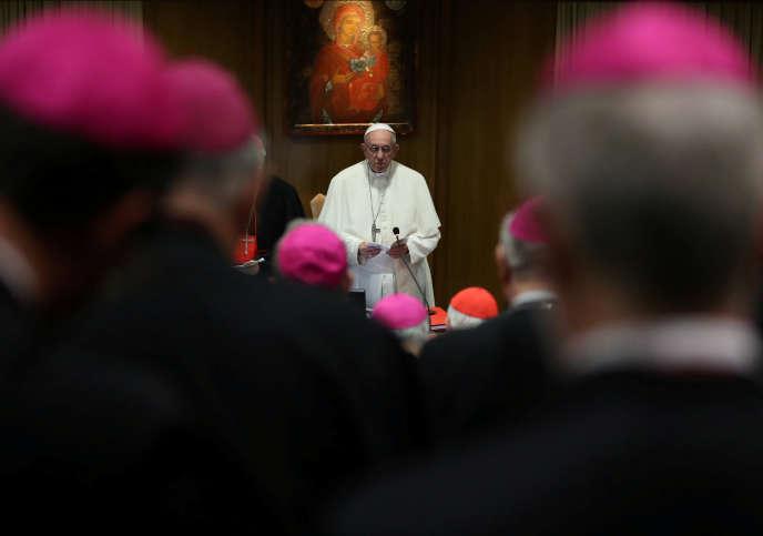 Le pape Françoisà l'ouverture d'un synode, mercredi 3 octobre, qui va durer jusqu'au 28 octobre.