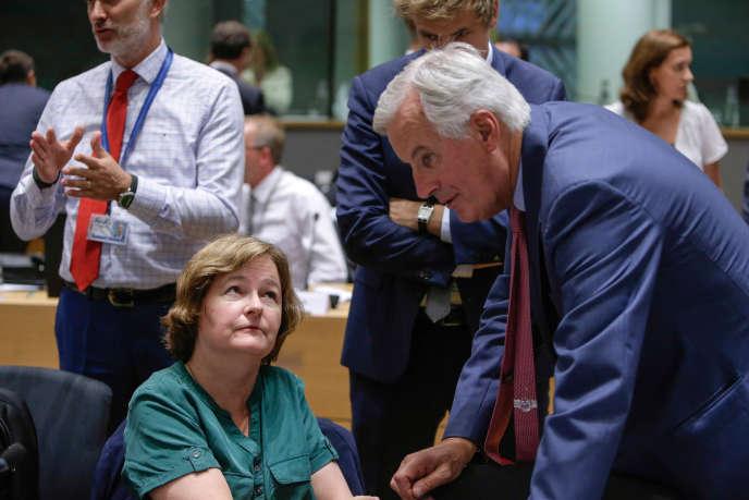 La ministre des affaires européennes, Nathalie Loiseau, et le négociateur européen sur le Brexit, Michel Barnier, le 18 septembre à Bruxelles.