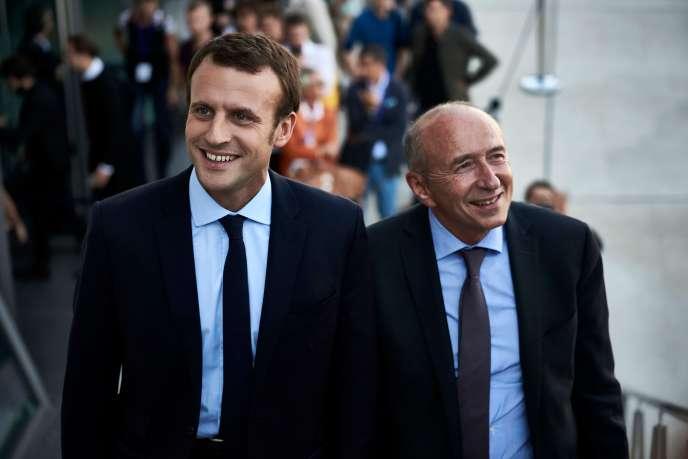 Emmanuel Macron et Gérard Collomb, le 24 septembre 2016 à Lyon.