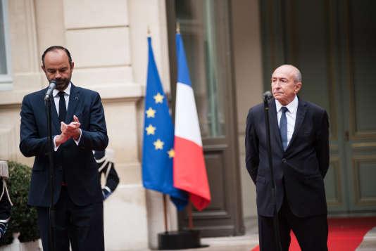 Lors de la passation de pouvoir entre Gérard Collomb et Edouard Philippe, mercredi 3 octobre 2018.
