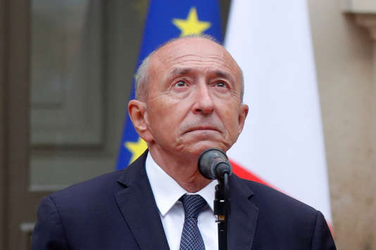 Gerard Collomb, outgoing French Interior Minister, reacts during a handover ceremony with French Prime Minister Edouard Philippe, appointed interim Interior Minister, in Paris, France, October 3, 2018. REUTERS/Philippe Wojazer