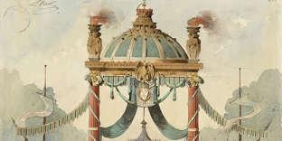 Détail d'un projet d'arc de triomphe réalisé en 1853 aux Beaux-Arts par Louis-François Boitte (1830-1906), Grand prix de Rome six ans plus tard.
