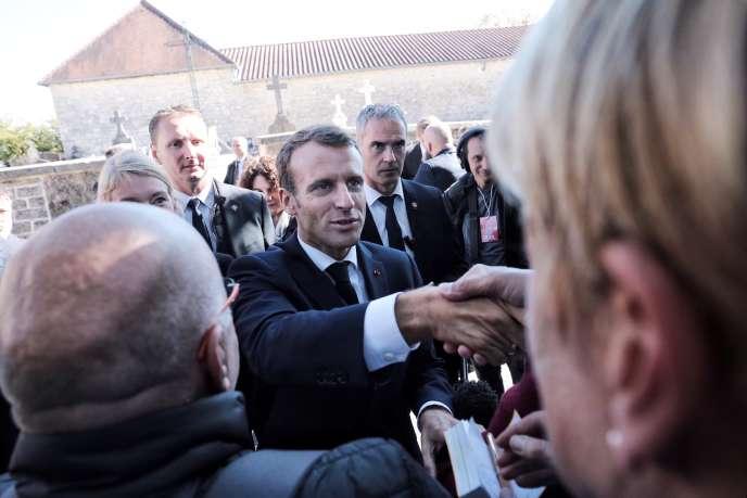 Emmanuel Macron, lors du 60ème anniversaire de la Constitution, à Colombey-les-Deux-Eglises, jeudi 4 octobre 2018.