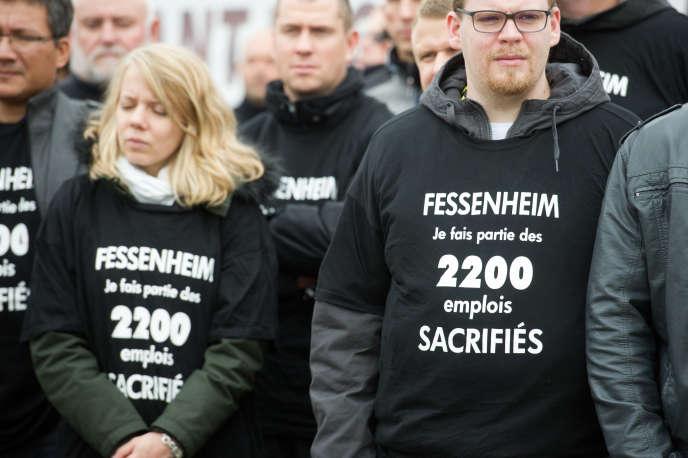 Manifestation contre la fermeture de la centrale de Fessenheim en 2015.