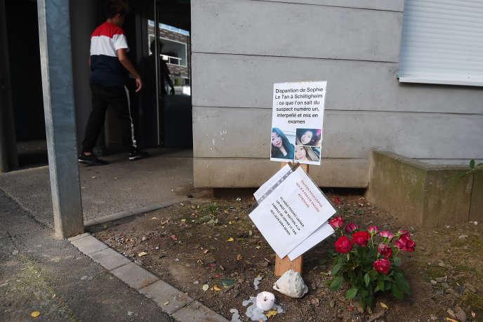 Un hommage à l'étudiante disparue Sophie Le Tan, àSchiltigheim le 19septembre.
