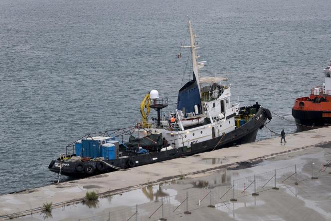 Le « Mare-Ionio» dans le port d'Augusta, en Sicile, début octobre.