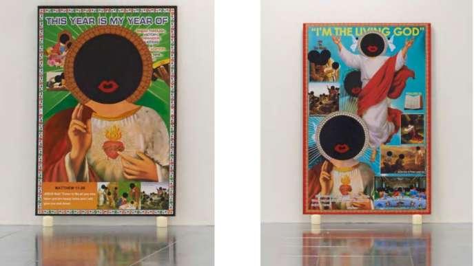 Œuvres duBritannique d'origine ghanéenne Larry Achiampong,où les visages du Christ sont recouverts de faces noires schématisées.