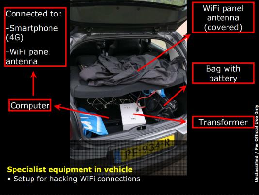 L'installation retrouvée par les autorités dans le coffre de la Citroën.