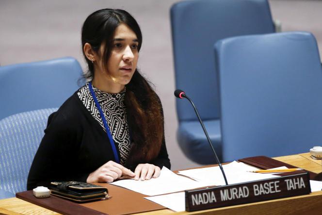 Nadia Murad, en 2015, devant les membres du Conseil de sécurité des Nationunies, à NewYork.