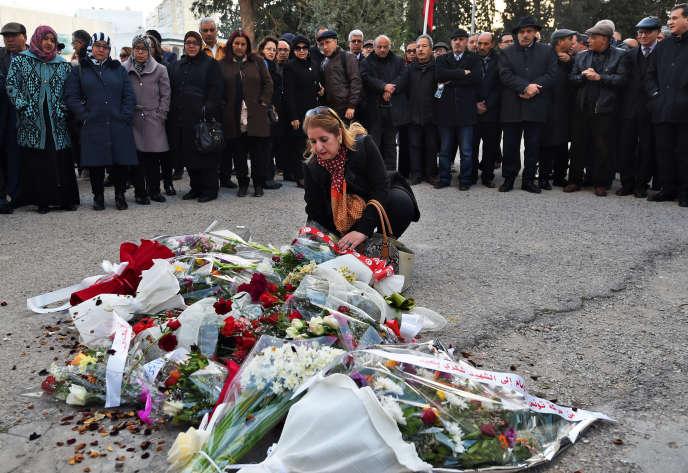 Commémoration, le 6février2018 sur les lieux de l'assassinat deChokri Belaïd,à Tunis.