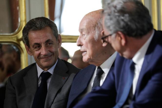 Nicolas Sarkozy et Valéry Giscard d'Estaing, au Conseil constitutionnel, le 4 octobre.