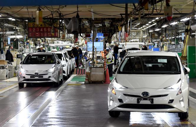 Des modèles Prius assemblés à Toyota City, au Japon, en2017.