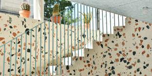 La boutique Kitsuné et son granito exclusif, mis au point par Dzek avec le designer britanniqueMax Lamb.