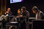 Elise Huchard, François Sarano, Boris Cyrulnik, et Nathaniel Herzberg débate sur les émotions chez les animaux, lors du festival du Monde au Palais Garnier le 7 octobre