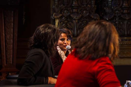 Cécile Duflot, Najat Vallaud-Belkacem et la journaliste Solenn de Royer lors de conférence du Monde Festival au Palais Garnier, le 7 octobre.