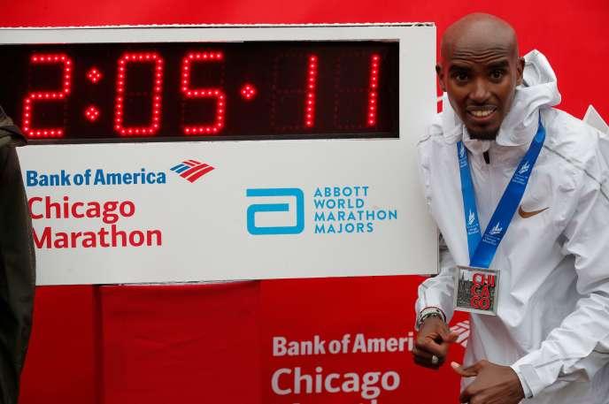 Mo Farah après le marathon de Chicago, le 6 octobre 2018.