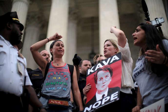 Manifestation contre la nomination de Brett Kavanaugh à la Cour suprême des Etats-Unis, à Washington, samedi 6octobre.