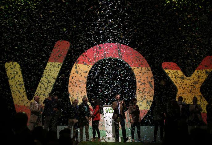 Meeting d u parti Vox, à Madrid, le 7 octobre.