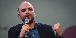 L'écrivain italien Roberto Saviano, le 7 octobre, lors de la rencontre avec le public organisée par Le Monde Festival à l'Opéra Bastille, à Paris.