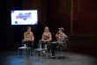 Rencontre avec Diane Leriche (c), Sam Bourcier (d) et Adrian de la Vega (modérateur) sur la vie des personnes trans en FranceLe Monde festival 2018, les Bouffes du Nord, 7 octobre.