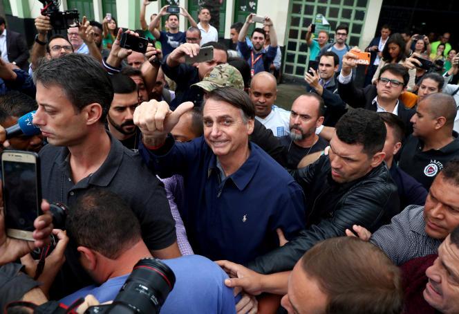 Jair Bolsonaro, à Rio de Janeiro, dimanche 7 octobre 2018.