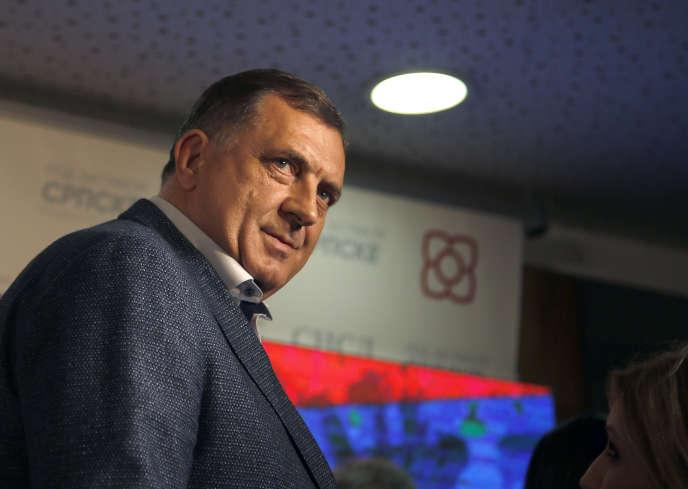Milorad Dodik, à l'annonce de sa victoire depuis la ville deBanja Luka, au nord ouest de Sarajevo, le 7 octobre.