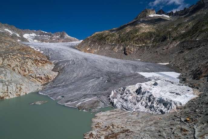 Le glacier du Rhône, à l'extrémité nord-est du canton du Valais en Suisse, le 16 octobre 2018.