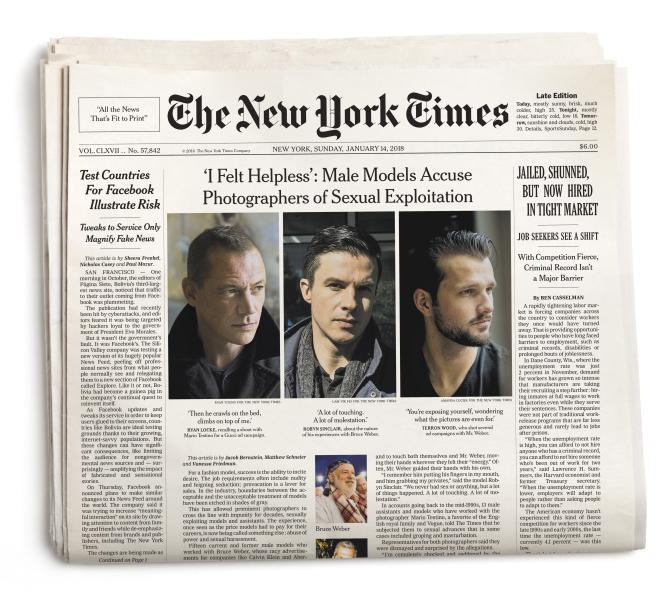 Le 14 janvier, le «New York Times» publiait en « une» l'enquête sur les accusations d'agressions sexuelles commises par deux grands photographes de mode.