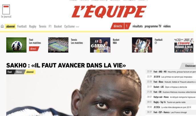 Capture d'écran de la page d'accueil abonnés de L'Equipe.fr mardi9octobre 2018.