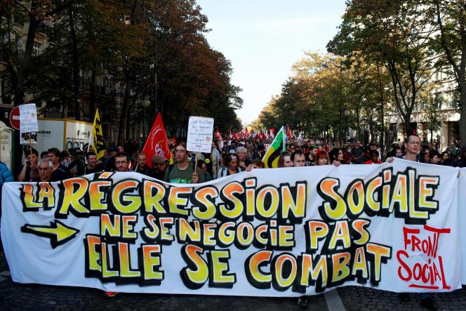Dans le cortège parisien, le 9 octobre.