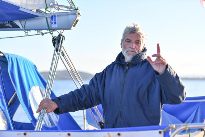Jean-Luc Van Den Heede, ici en octobre 2018,devrait franchir le 29janvier la ligne d'arrivée aux Sables-d'Olonne (Vendée).