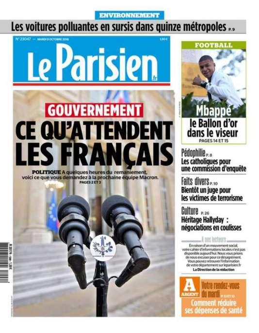 La «une»du« Parisien» du 9octobre.