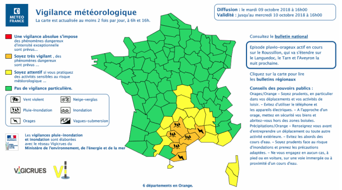 Six départements du sud de la France sont placé en vigilance orange.