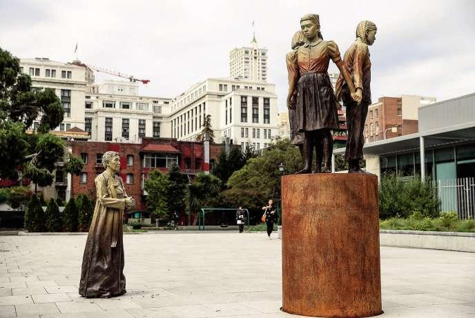 La statue rendant hommage aux esclaves sexuelles, de l'artisteSteven Whyte,à San Francisco (Californie), le 3 octobre.