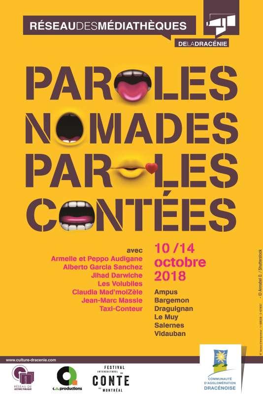 Affiche du festival Paroles nomades, paroles contées 2018.
