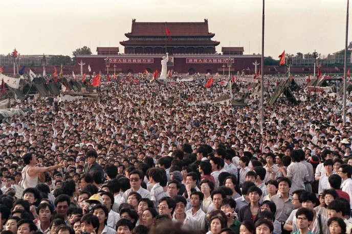 Manifestation sur la place Tiananmen, à Pékin, le 2 juin 1989.