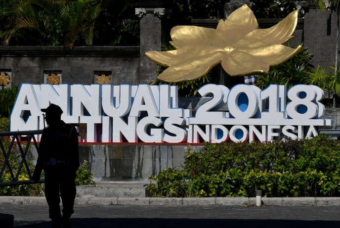 A Nusa Dua, sur l'île de Bali, où se déroulent les assemblées générales du Fonds monétaire international (FMI) et de la Banque mondiale, le 10 octobre.