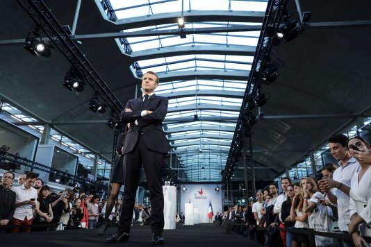 Le président français Emmanuel Macron lors de la visite de la stationF., à Paris, le 9octobre.