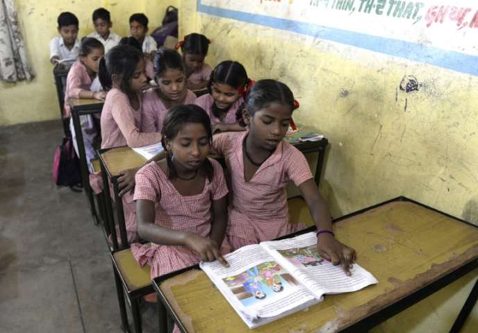 Dans une classe, à Jalandhar, en Inde, en mai.