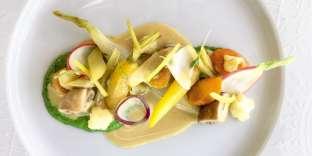 Légumes à la grecque, coriandre pilée au mortier.