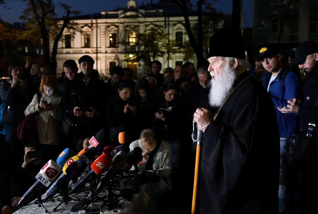 Le patriarche de l'Eglise orthodoxe ukrainienne,Philarète, lors d'une conférence de presse à Kiev, le 11octobre.