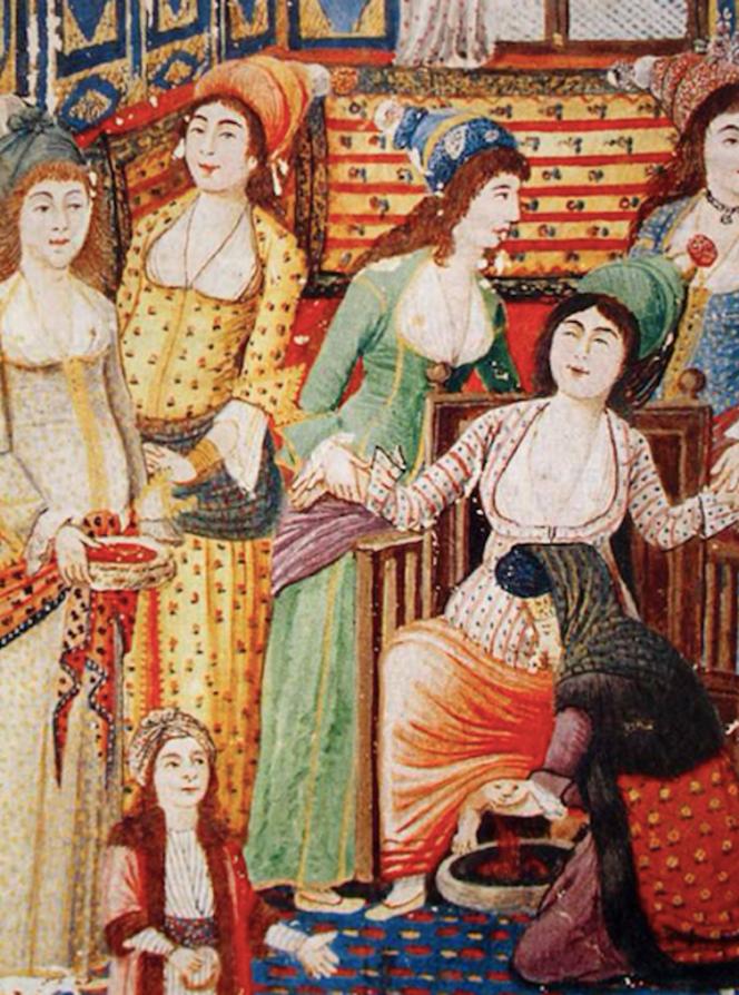 L'accouchement tel qu'il est dépeint dans le «Zenanname» («Le Livre des femmes»), d'Enderunlu Fazıl, publié entre 1253 et 1286 (1837-1869).