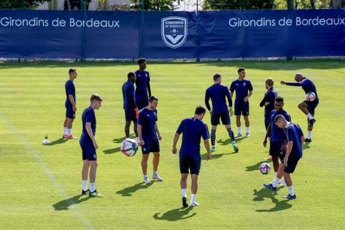 Lors d'un entraînement des joueurs de l'équipe des Girondins de Bordeaux, en août, au Haillan.