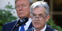 Donald Trump et Jerome Powell, le président de la Fed, la banque centrale américaine, le 2 novembre 2017, à Washington.