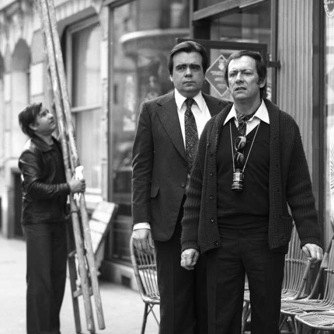 Michael Lonsdale et Maurice Ronet sur le tournage du film« Bartleby» (1976).
