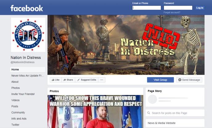 Capture d'écran de la page de Nation in Distress, l'une des pages supprimées par Facebook.