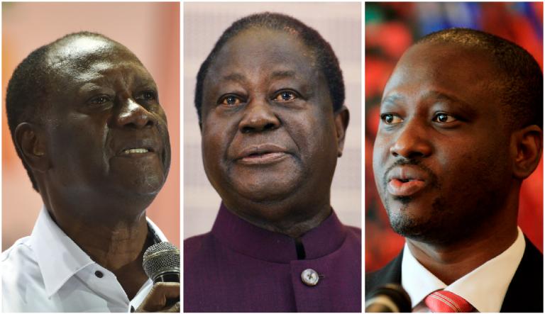 De gauche à droite : le président Alassane Ouattara, l'ancien chef d'Etat Henri Konan Bédié et le président de l'Assemblée nationale, Guillaume Soro.