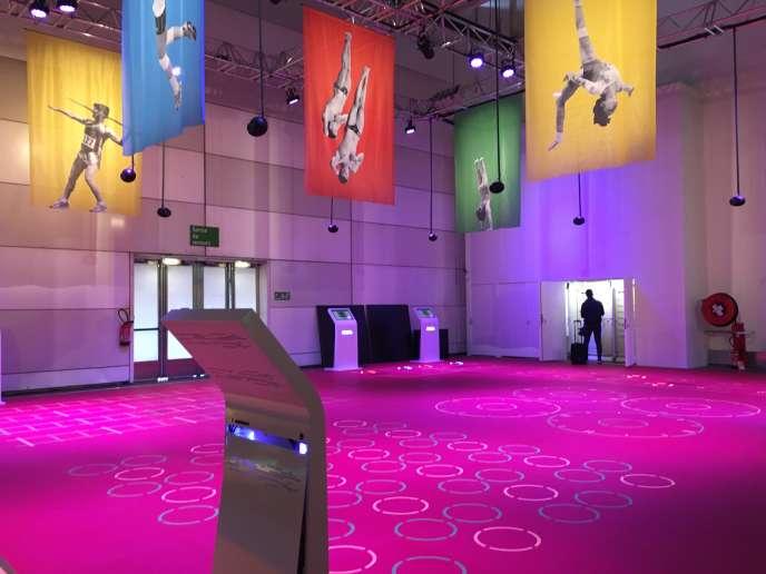 La vaste salle d'entraînement de l'exposition« Corps et Sport» à la CIté des Sciences, à Paris.