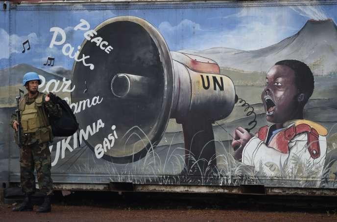 Un soldat uruguayen de la Monusco à Goma, dans l'est de la RDC, en avril 2016.